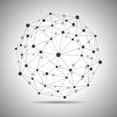 Network connection, globe connection, technology sphere, concept future world - stock vector
