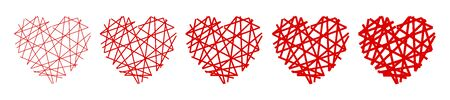 Set of red heart in a spider web - stock vector