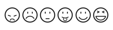Sześć emotikonów, zestaw emotikonów, przez emotikony, emotikony z kreskówek - Grafika wektorowa Ilustracje wektorowe