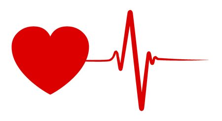 Heart pulse, one line, cardiogram - vector for stock Çizim