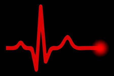 Heart pulse, one line on black background - stock vector