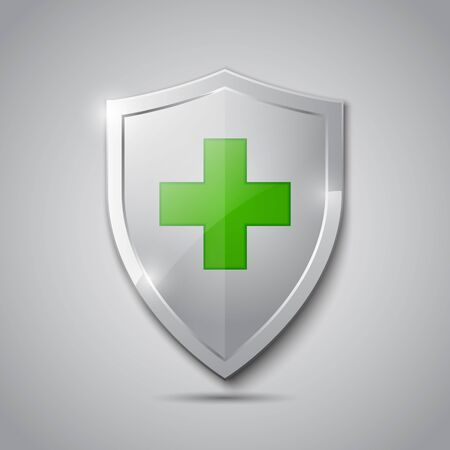 Medical health protection shield with cross. Healthcare medicine protected steel guard shield concept. Safety badge steel icon. Security safeguard metal label - stock vector