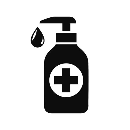 Antiseptic icon, hand sanitizers. Alcohol rub sanitizers kill most bacteria from hands and stop viruses. Sanitizer bottle, wall mounted container, liquid soap icon - vector