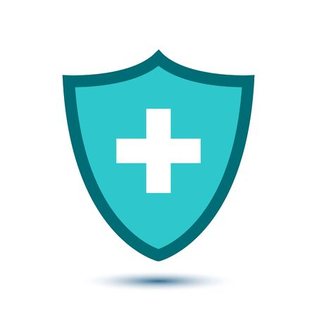 Medical health protection shield with cross. Healthcare medicine protected steel guard shield concept. Safety badge steel icon. Security safeguard metal label - vector