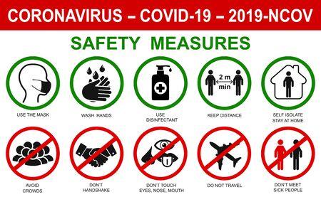 Ð¡orona virus establece iconos de ilustración infográfica. Concepto con medidas de seguridad y precauciones de protección, señales de advertencia, iconos de antivirus relacionados con coronavirus, 2019-nCoV, infección por COVID-19