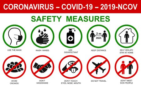 Ð¡orona virus set infographic illustration icons. Concept with protective safety measures and precautions warning signs antivirus icons related to coronavirus, 2019-nCoV, COVID-19 infection