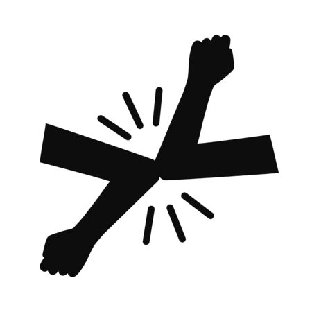 Elbow bump icon. New novel greeting to avoid the spread of coronavirus. Two friends meet with hands. Instead of greeting with a hug or handshake, they bump elbows instead - vector Vector Illustration