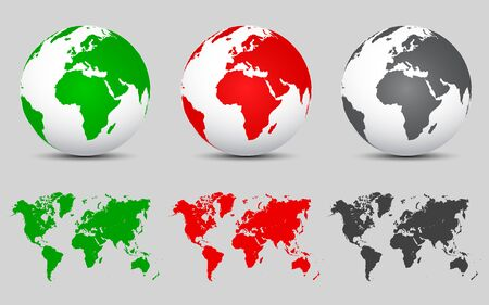 Set 3D Vector Globes with World Maps - for stock