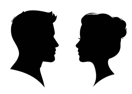 Silueta de hombre y mujer cara a cara - vector
