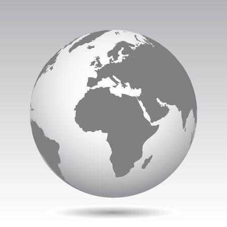 Globes gris avec des continents - Vectoriels