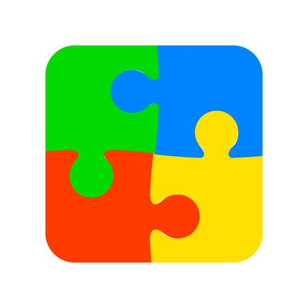 Group of four color puzzle illustration