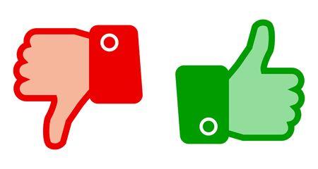 Green thumb up and red thumb down - stock vector Иллюстрация