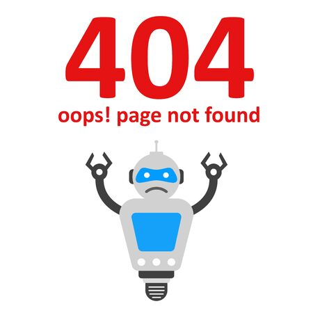 Oops 404 error page not found. Futuristic robot concept – stock vector