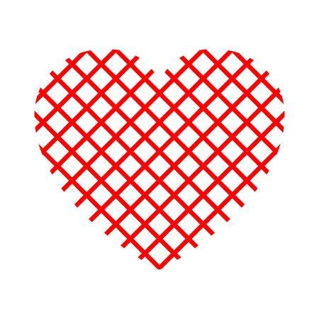 Net red heart - stock vector Illustration