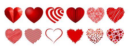Set of twelve hearts illustration Vettoriali
