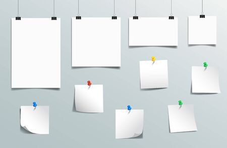 Set white hanging papers illustration