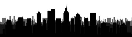 Black city silhouette illustration Ilustrace