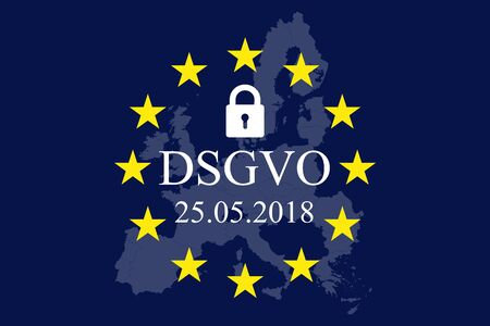 General Data Protection Regulation, EU map and flag. In german: Datenschutz Grundverordnung (DSGVO) Ilustração