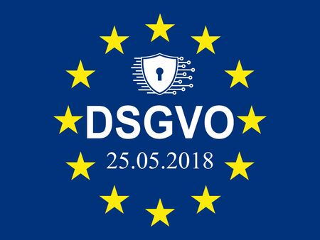 General Data Protection Regulation, EU flag. In german: Datenschutz Grundverordnung (DSGVO) – stock vector