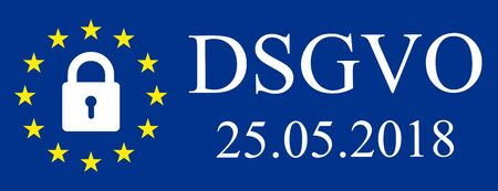 General Data Protection Regulation, EU flag. In german: Datenschutz Grundverordnung (DSGVO) Ilustração