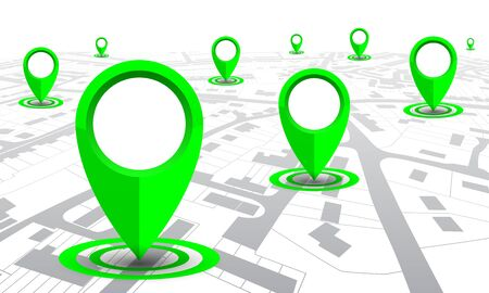 Green GPS navigator location on city map, from place to place illustration
