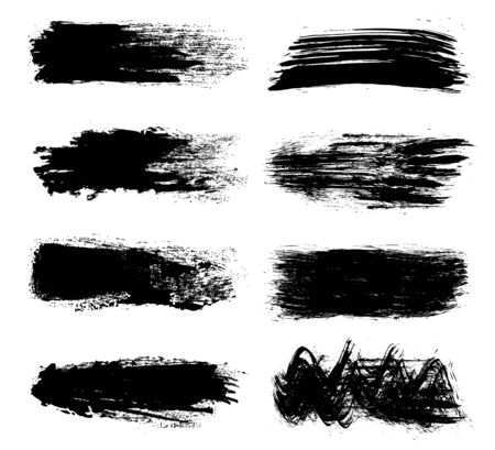 Black set of paint, brush strokes – vector