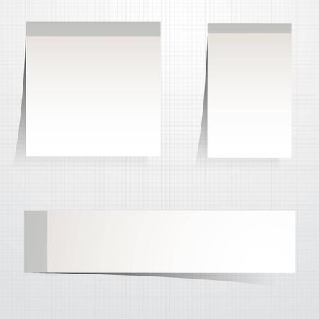 Set white sticky papers - stock vector