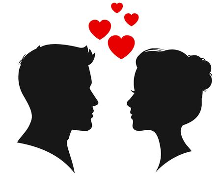 Man and woman silhouette face to face illustration