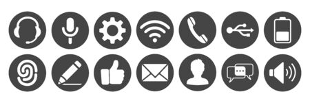Set icons for phone illustration