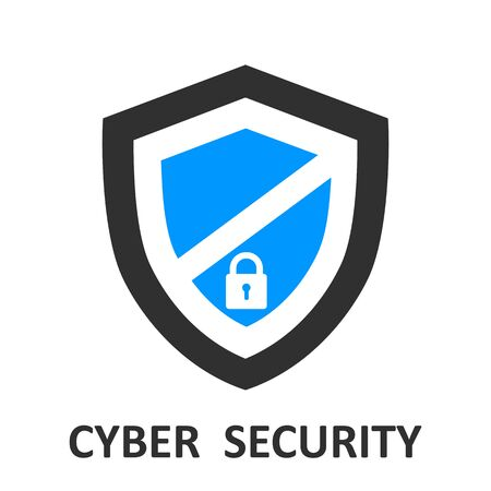 Protection shield icon, cyber security for web illustration Ilustração