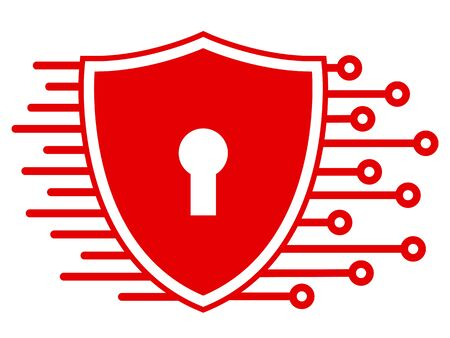Protection shield technology icon, cyber security for web illustration