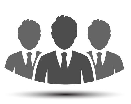 Teamwork icon, staff, partnership, three person illustration