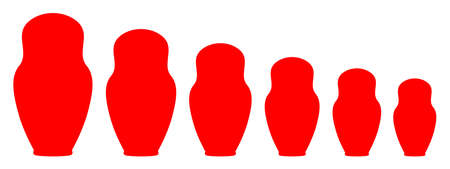 Matryoshka silhouette set - stock vector