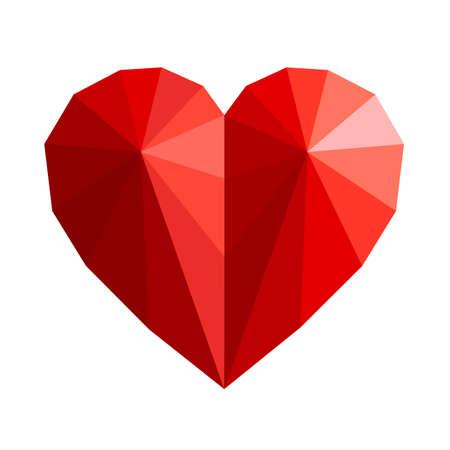 Polygonal red heart - stock vector