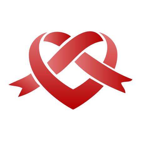 Heart with ribbon - stock vector