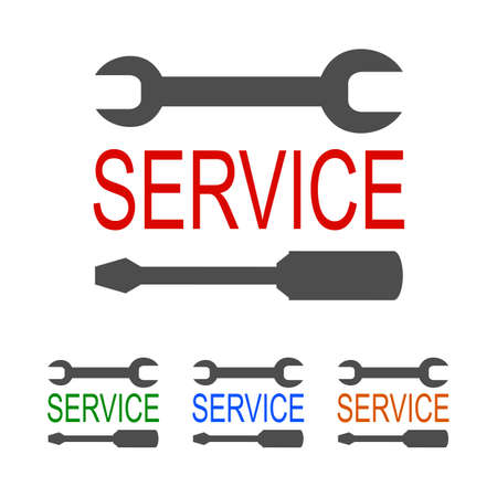 service with key and screwdriver - stock vector
