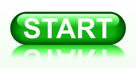 Start green button - stock vector Векторная Иллюстрация