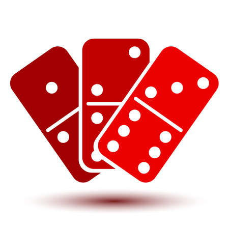 Three red domino, icon - stock vector
