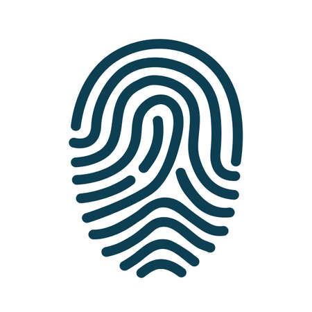Fingerprint scanning icon - stock vector