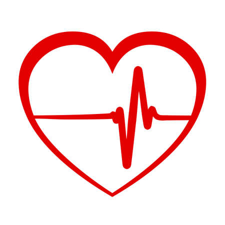 Red heart with pulse line, cardiogram - stock vector