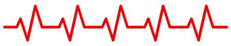 Sign heart pulse, one line, heartbeat - stock vector Ilustração