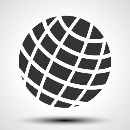 Black world globes with shadows - vector illustration