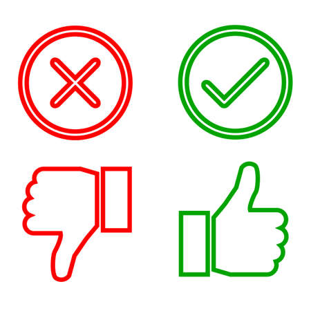 Up and down index finger with check mark and cross - vector
