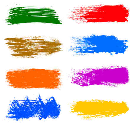 Colored collection of paint, brush strokes - stock vector Иллюстрация