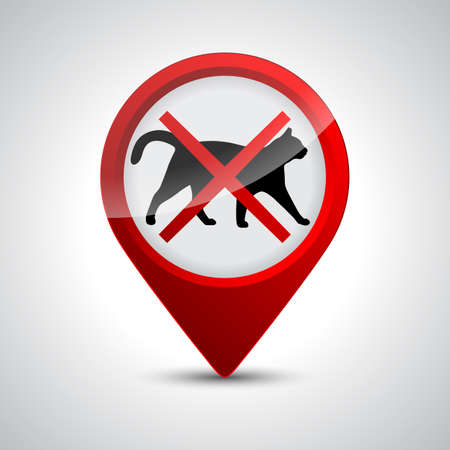 No cats. Prohibiting stop sign location or entry of pets at this point or territory - stock vector
