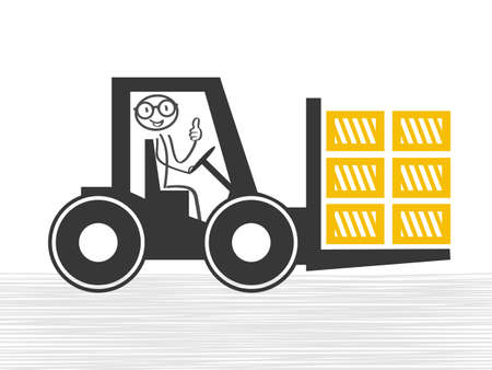 Forklift truck loading the boxes. Illustration of forklift truck is raising a pallet Ilustrace