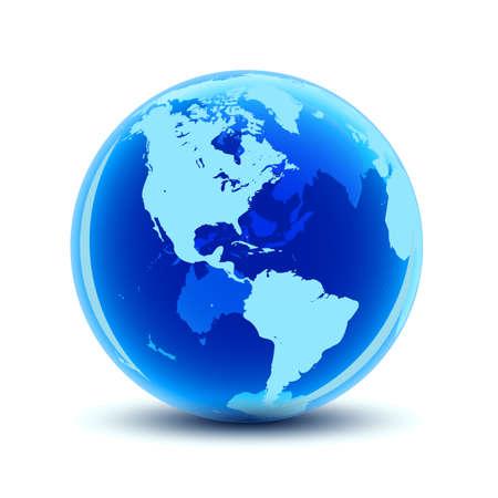 Transparent globe with blue continents - stock vector Ilustração