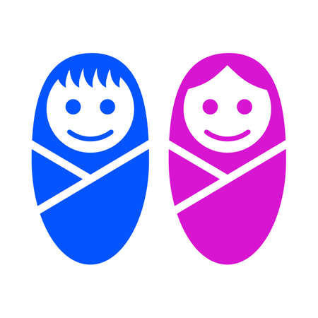 Baby boy and girl face icon symbol sign - stock vector