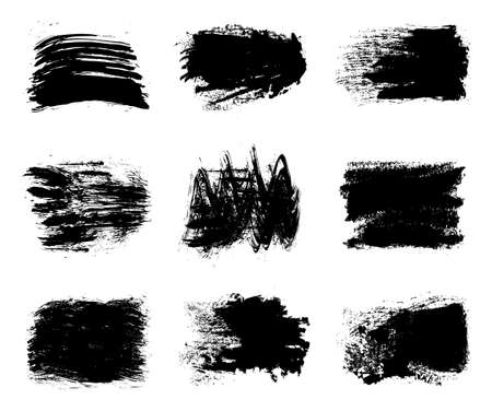 Collection of paint, brush strokes - stock vector