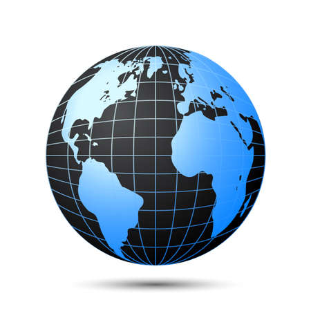Black globe with blue continents - stock vector